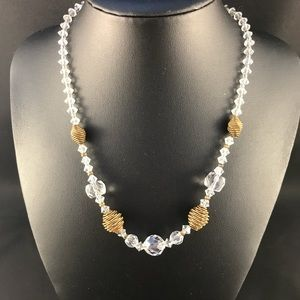 Vintage crystal and gold metal necklace